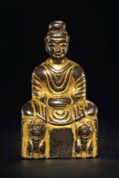 Бронзовая скульптура Будды Шакьямуни (9 см) , эпоха Шестнадцати государств (304—439 гг.)