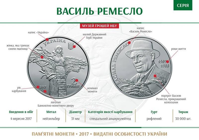 """НБУ выпустил памятную монету из нейзильбера """"Василь Ремесло"""""""