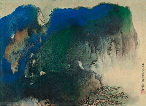 """""""Голубой утес и старое дерево"""", Чжан Дацянь (1899-1983)"""