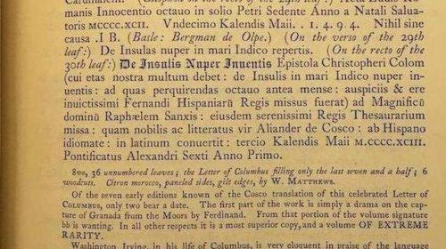 Копия письма Христофора Колумба об открытии Америки (1494)