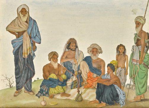Иллюстрация из альбома Фрейзера: Хан Бахадур Хан с членами его клана, Индия, Дели или Харьяна, около 1816-20 гг. н.э.