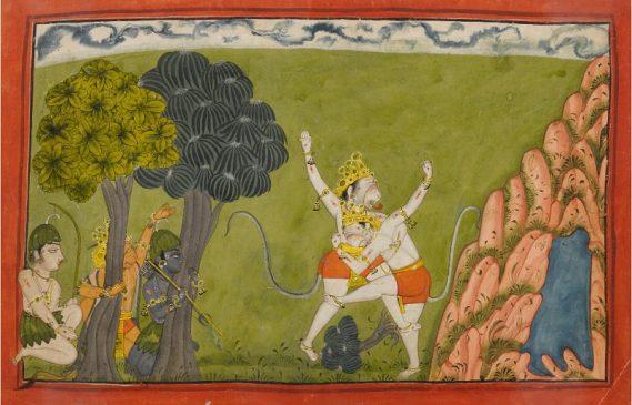 Иллюстрация к Рамаяне - первая битва между Сугривой и его братом Бали, Индия, Нурпура или Манкот, около 1710-20 гг