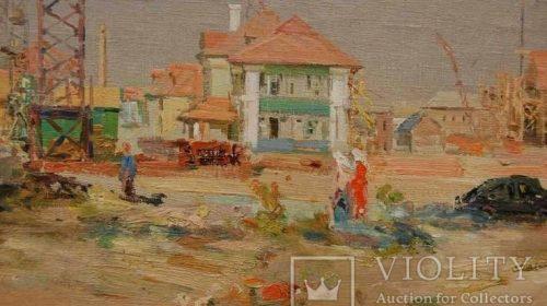 """""""Стройка в Новой Каховке"""", Шишко С. Ф., 1952 год"""