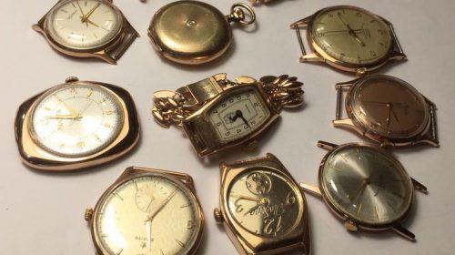11 штук золотых часов (583* и 750*)