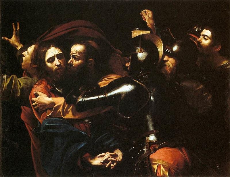 "Микеланджело Меризи да Караваджо, ""Взятие Христа под стражу, или Поцелуй Иуды"", 1602"