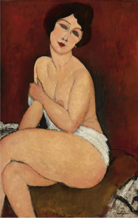 """Амадео Модильяни, """"Сидящая обнаженная на диване"""" ( Nu Assis Sur Un Divan (La Belle Romaine)), 1917"""