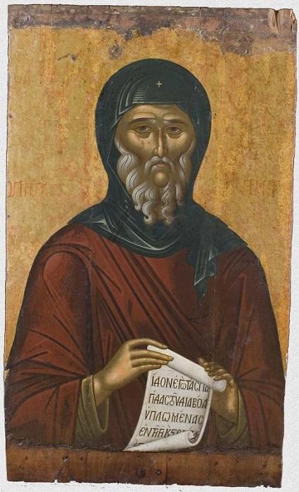 """Икона """"Преподобный Антоний Великий"""". Западная Европа, Греция, Крит, вторая половина XVI века., 109,6х66,2х2,2 см, дерево, левкас, темпера."""
