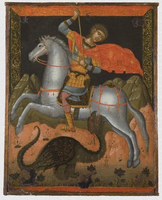 """Икона """"Святой Георгий, побеждающий дракона"""". Западная Европа, Греция, Крит, около 1600 г., 52х41 см, дерево, левкас, темпера."""