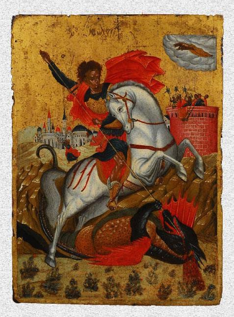 """Икона """"Святой Георгий, побеждающий дракона"""". Западная Европа, Греция, Крит (?), первая половина XVII в., 41,5х35х2 см, дерево, левкас, темпера."""