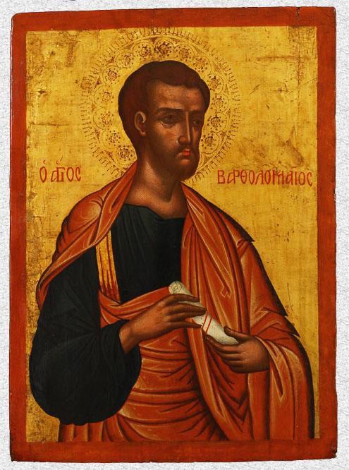 """Икона """"Апостол Варфоломей, из деисуса"""". Западная Европа, Греция, Крит, середина XVII в., 47,3х34х2,1 см, дерево, левкас, темпера, канфарение."""