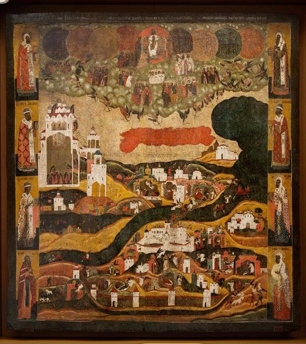 """Икона """"Видение хутынского пономаря Тарасия"""". вторая половина XVII в., 141х113 см, дерево, левкас, темпера."""