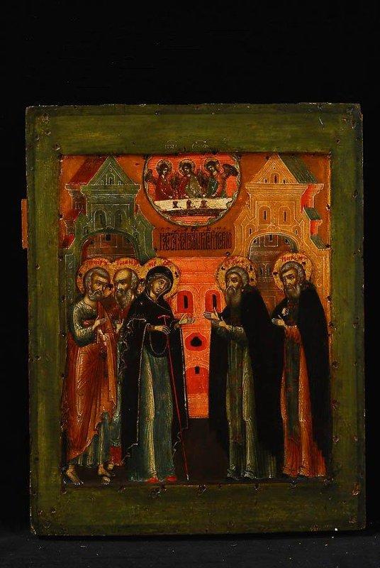 """Икона """"Явление Богоматери преподобному Сергию Радонежскому"""". Конец XVII в., 29,8х23,2 см, дерево, левкас, темпера."""