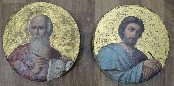 иконы XIX века «Иоанн Богослов» и «Евангелист Лука»