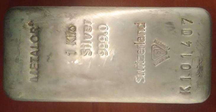 """Слиток серебра весом 1 кг """"METALOR 1 Kilo Silver 999.0 Switzerland"""