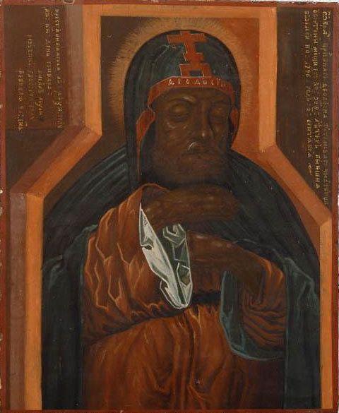 """Икона """"Преподобный Феодосий Тотемский"""" (поясное изображение), 1800 г., 33,5х27,5 см. Изображение мощей преподобного Феодосия Тотемского представлено в том виде, в каком они были обретены после 228 лет пребывания под спудом."""