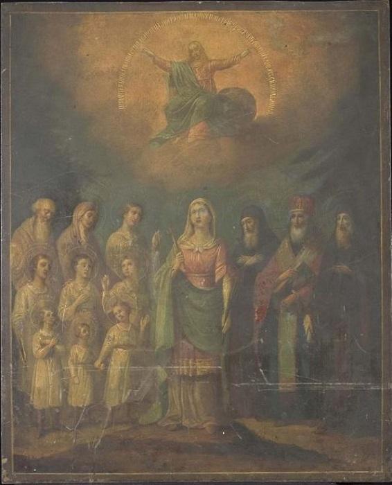 """Икона """"Избранные святые"""". Россия, Санкт-Петербург, 1844 г., 59х47,8 см, латунь, масло."""
