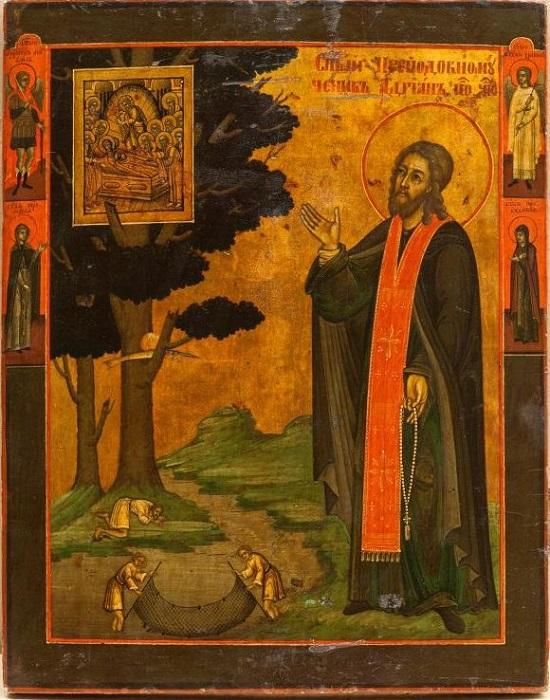 """Икона """"Преподобномученик Адриан Пошехонский"""". Пошехонье, начало XIX в., 31,4х24,9 см, дерево, левкас, темпера."""