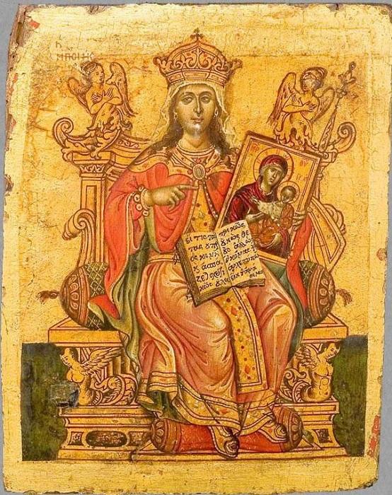 """Икона """"Праведная Феодора, царица греческая"""". Афон(?), XVIII в., 19,9х15,1 см, дерево, левкас, темпера."""