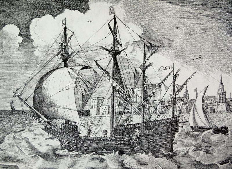 Питер Брейгель (Pieter Bruegel), рисунок португальского или испанского судна XVI века