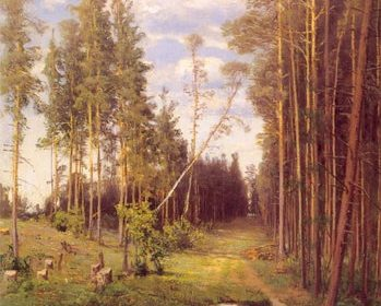 В сосновом лесу. 1883. Холст, масло. 55,5 х 36,8. ГРМ