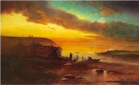 Весенний вечер. Ольха цветет. 1880-е. Холст, масло. 45 х 68. ГРМ