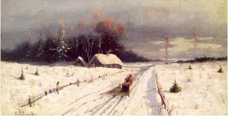 Зимний пейзаж. Холст, масло. 29 х 56. Частная коллекция, Санкт-Петербург