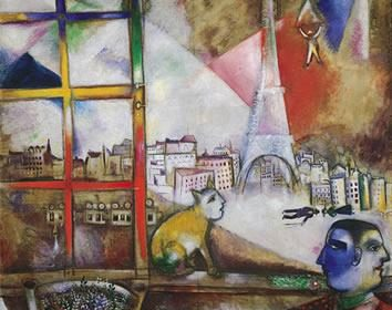 "Марк Шагал Paris is in the window - ""Париж из окна"" 1913"