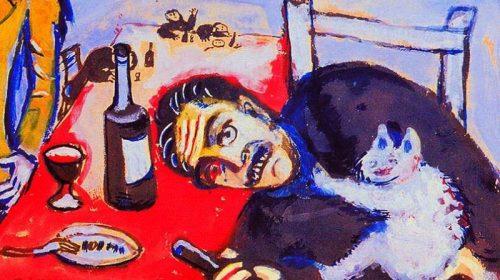 "Марк Шагал man is at a table -""Пьяный"" 1911"