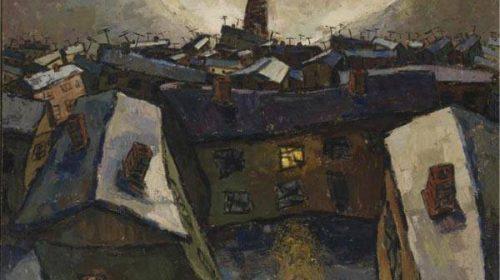 Оскар Рабин (1928-2018), Город и луна (социалистический город), 1959