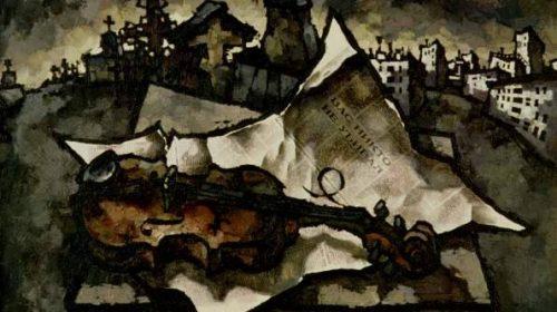 Оскар Рабин (1928-2018), Скрипка на кладбище, 1969