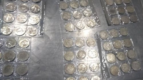 113 старинных монет разных годов выпуска, в частности доллары США XIX века, а также изделия из цветного металла: девять подсвечников, пять больших и одну маленькую подкову, часы, пять крестов и два изделия в виде насекомых