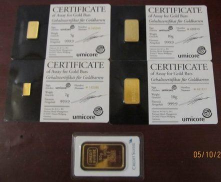 Пять слитков золота весом 76 грамм