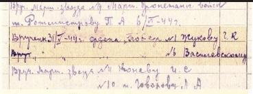 Бухгалтерские записи, подтверждающие вручение Г.К. Жукову ордена «Победа» № I 31 мая 1944 г. и одновременное вручение А.М. Василевскому ордена «Победа» № VI.
