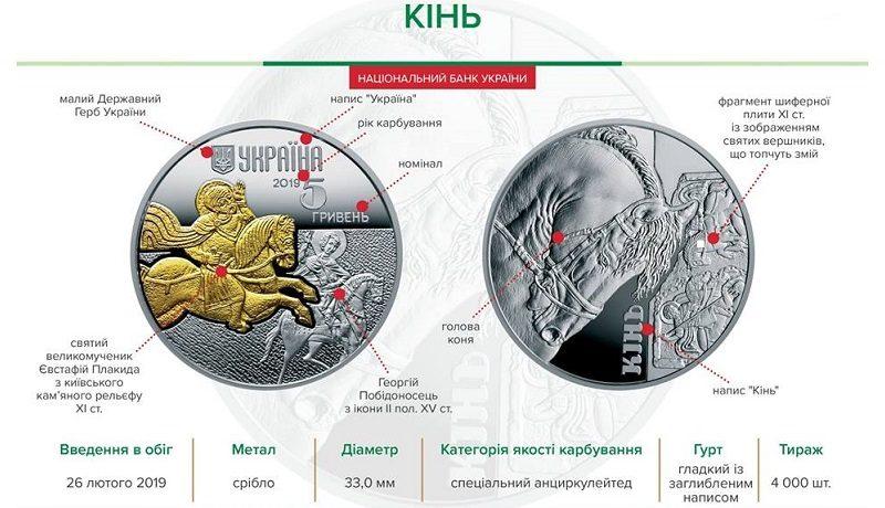 НБУ выпустил серебряную монету «Кінь» номиналом 5 гривен