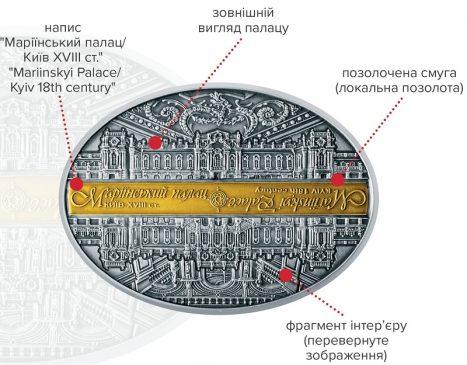 """Памятная серебряная медаль """"Маріїнський палац"""""""
