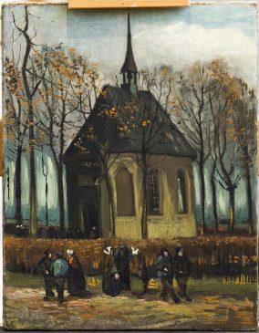 """Картина Винсента Ван Гога """"Выход из протестантской церкви в Нюэнене"""" (Het uitgaan van de Hervormde Kerk te Nuenen), 1882, 34,5 х 51 см"""