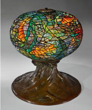 """Tiffany Fish and Waves"""" Lamp"""