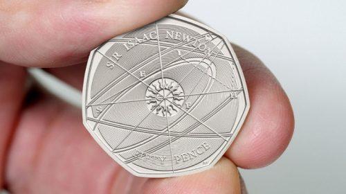 50 пенсов Sir Isaac Newton 2017