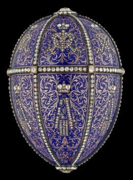 1896 год - императорское пасхальное яйцо «Двенадцать монограмм» (портреты Александра III)