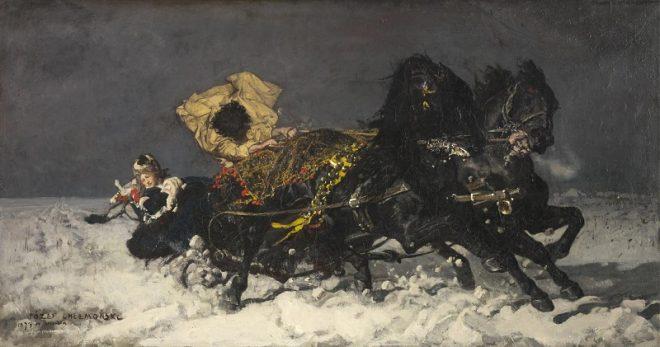 """Юзеф Хелмоньский (1849-1914) """"Полуночная поездка"""""""