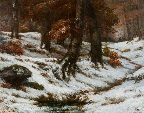 Снежный пейзаж с деревьями и скалами Paysage de neige avec arbres et rochers Гюстава Курбе