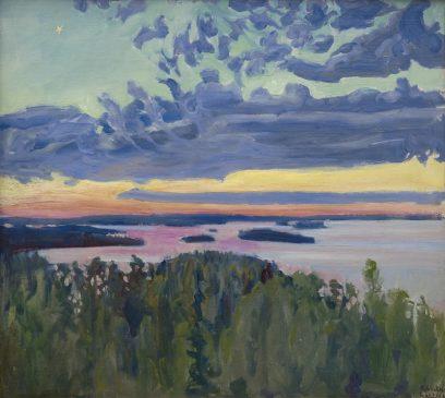"Аксели Галлен-Каллела (1865-1931) ""Вид на озеро на закате"""