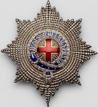 Звезда ордена Подвязки - принадлежала императору Германии Фридриху III. Золото, серебро, эмаль, Великобритания,Лондон, фирма R&SGarrard&Cо, 1858-1861 гг. Из коллекции А.Л. Хазина (Москва).