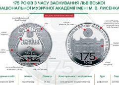 НБУ выпустил памятную монету из нейзильбера номиналом 2 гривны «175 років з часу заснування Львівської національної музичної академії імені М.В. Лисенка»