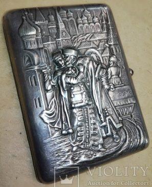Портсигар «Боярин и боярыня» Серебро. 84
