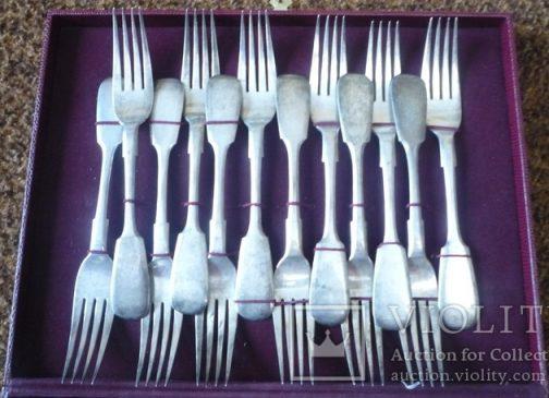 серебряный набор столовых вилок и ложек на 12 персон 84 пробы