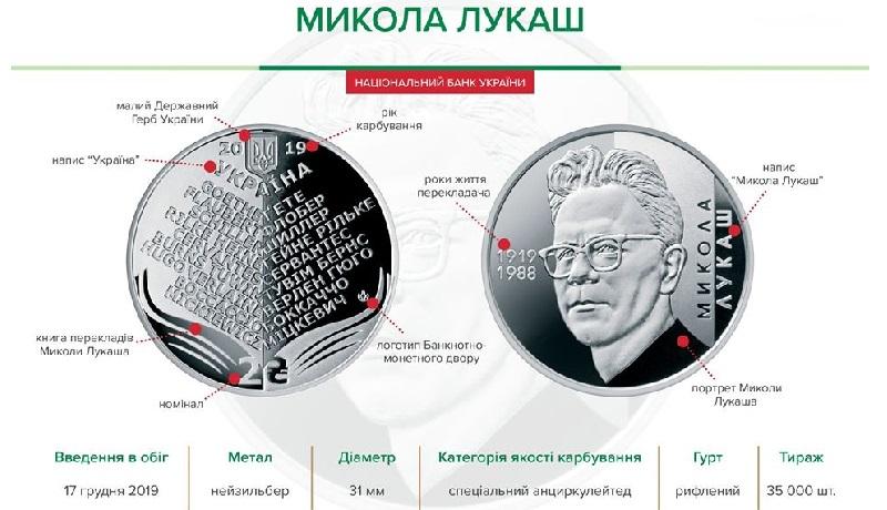 НБУ выпустил памятные монеты из нейзильбера номиналом 2 гривны «Микола Лукаш»