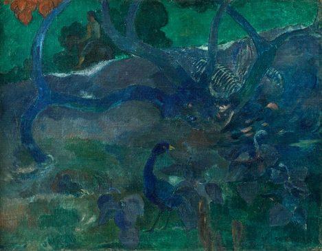 Картина французского художника Поля Гогена (1848-1903) «Толстое дерево» (Te Bourao II)