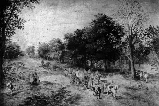 Ян Брейгель Старший (1568-1625) «Деревенская улица с повозками и коровами». Датируется 1590-ми гг. и началом 17-го века