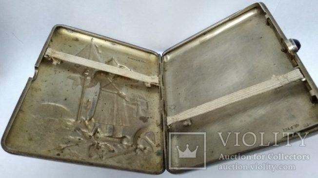 """серебряный портсигар с клеймами мастера """"А.Б."""" и """"А.Бобарыкин"""""""
